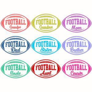 Football Family Names Pack with Grandpa, Grandma, Mom, Dad, Sister.