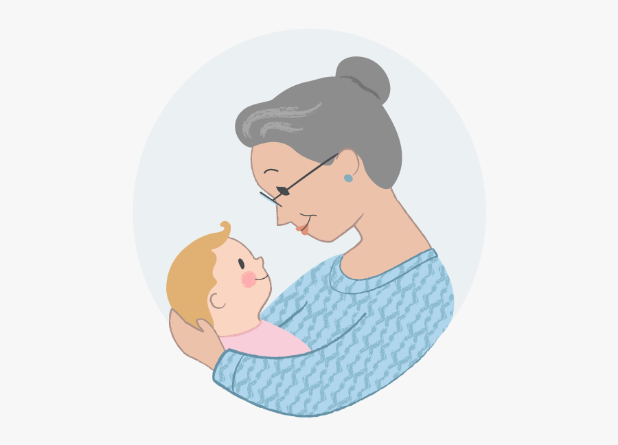 Grandmother Holding Baby Drawing , Free Transparent Clipart.