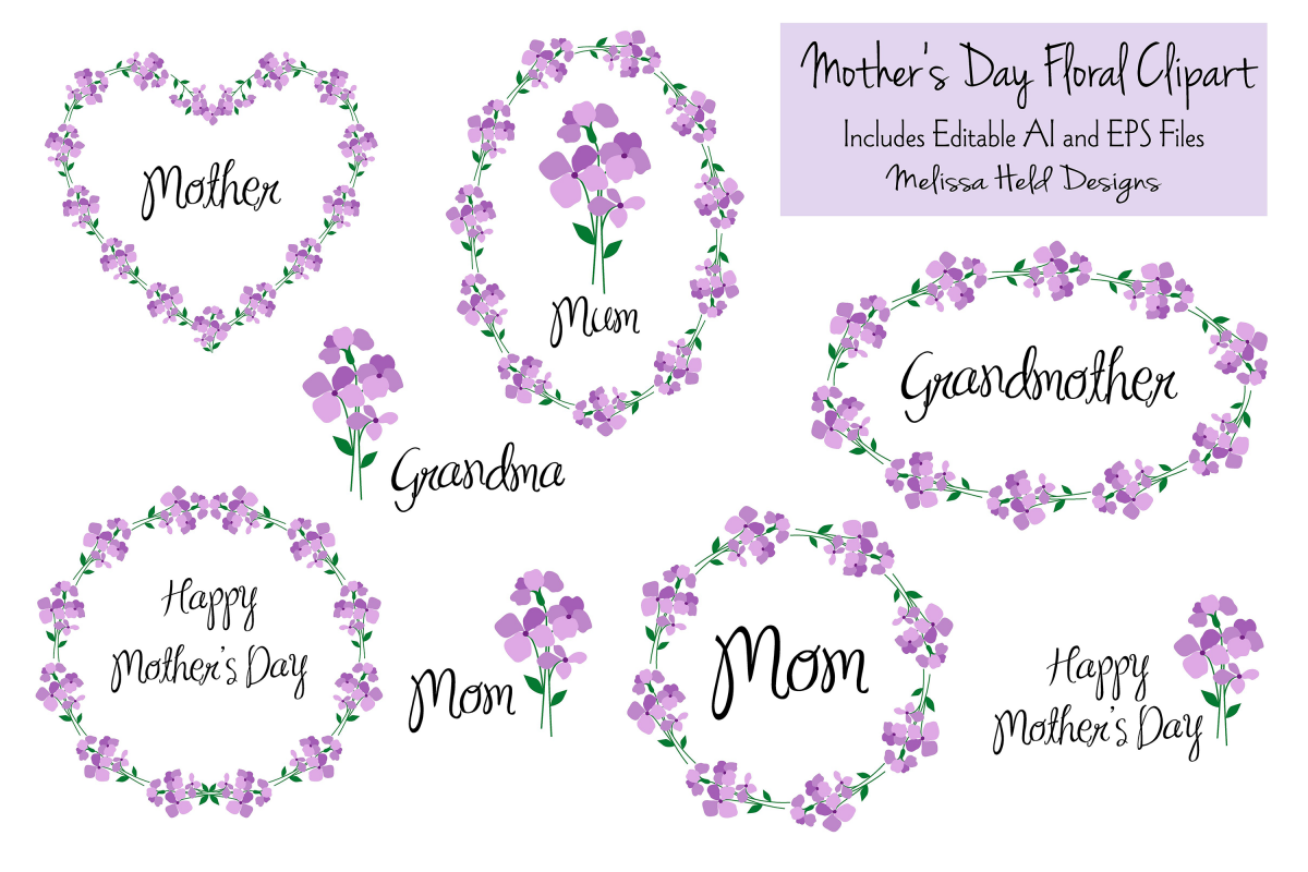 Mothers Day Floral Clipart.