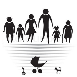 People silhouette family icon. Person vector woman, old man. Kid.