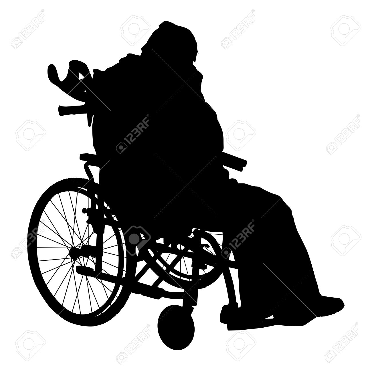 One Handicapped Man In Wheelchair Silhouette Royalty Free Cliparts.
