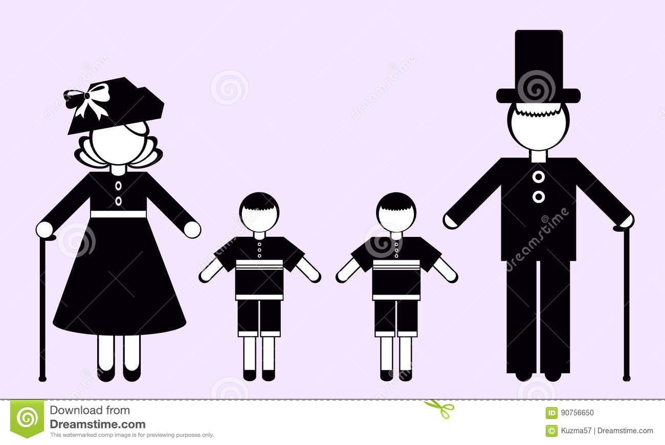 Silhouettes Of Grandma, Grandpa And Grandchildren Stock Vector.
