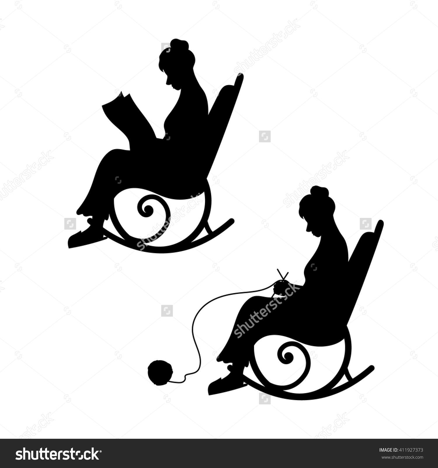 Grandmother Ball Yarn Knits Chair Grandma Stock Vector 411927373.