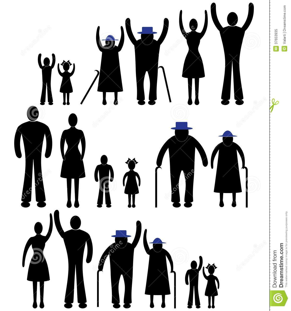 People Silhouette Family Icon. Person Vector Woman, Man. Child.