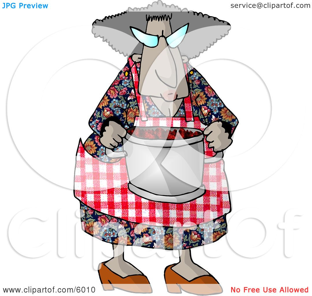 Grandma Carrying a Cooking Pot Full of Fresh Red barriers Clipart.