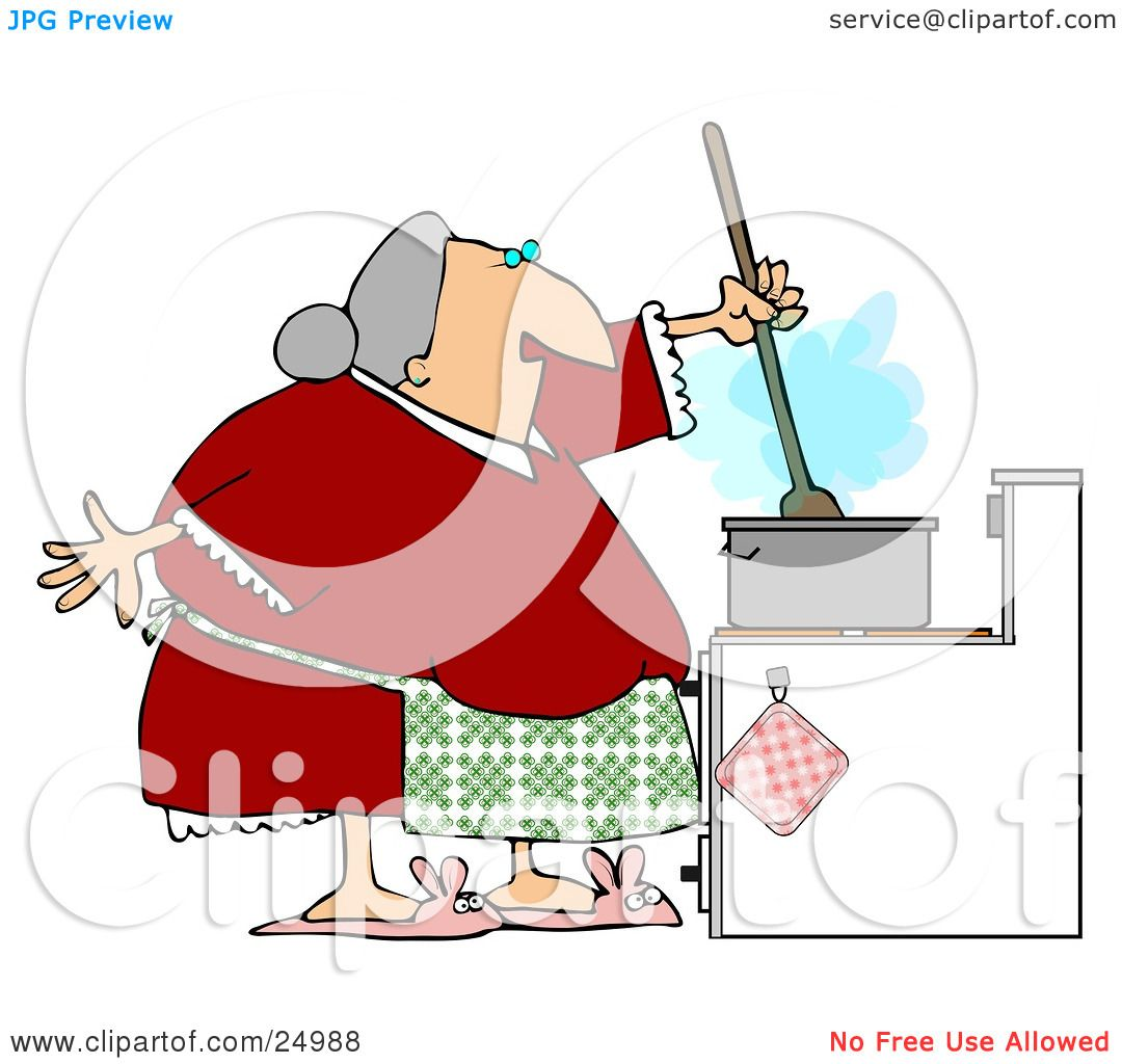 Clipart Illustration of a Senior Granny Wearing A Green Apron Over.