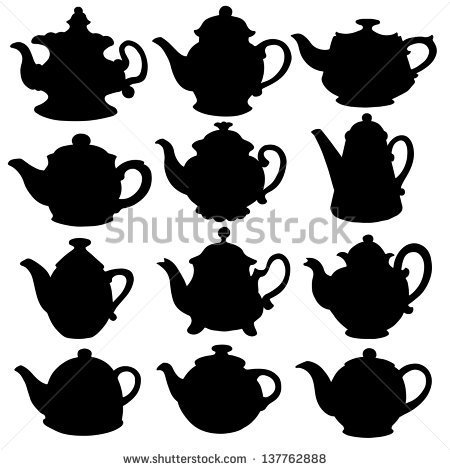 Set isolated icon silhouette kettles, teapots, coffee pot.
