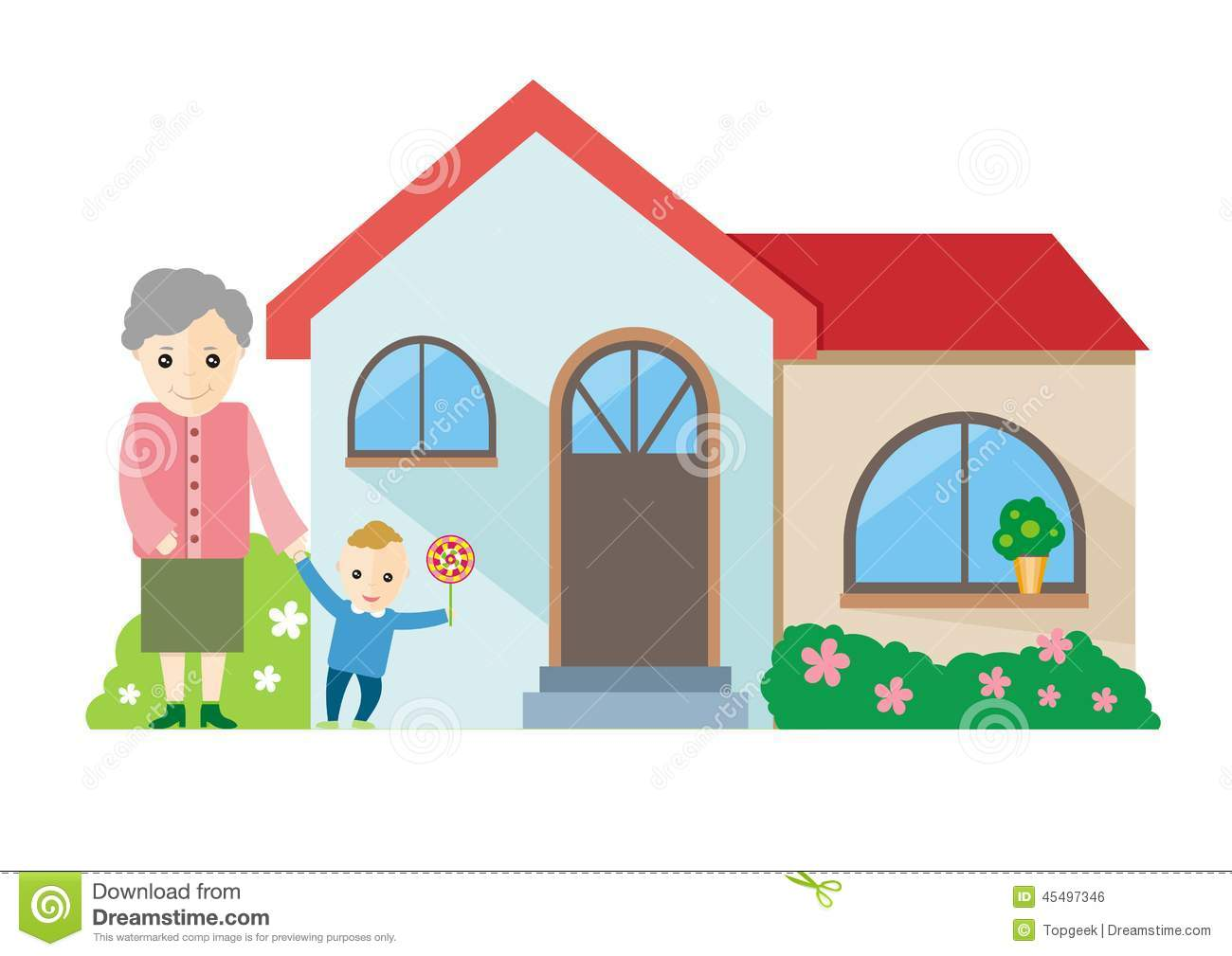 Grandmother Playing With Her Grandchildren Stock Vector.
