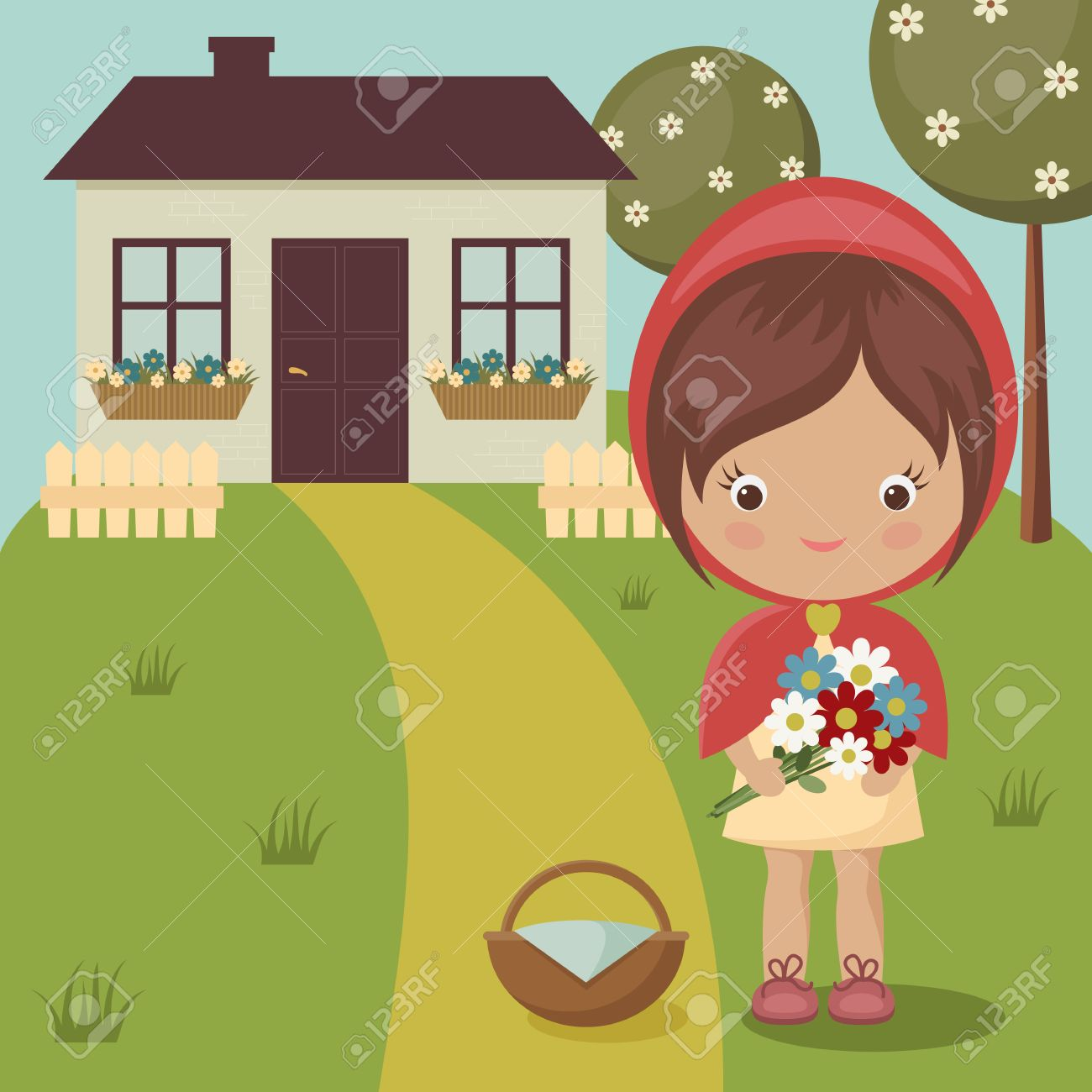 Little Red Riding Hood close to grandma's house with flowers...