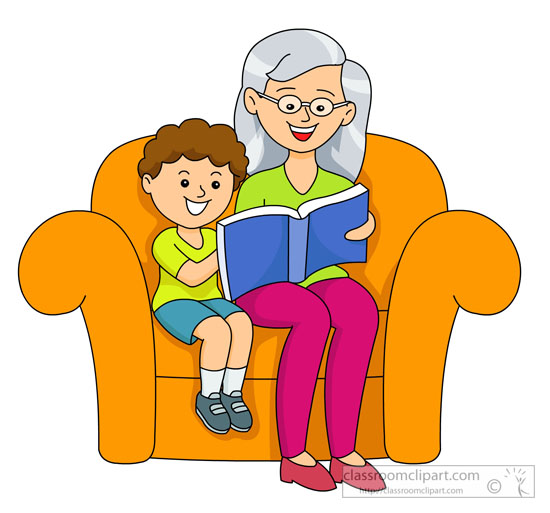 Grandmother reading stories from book to child clipart.