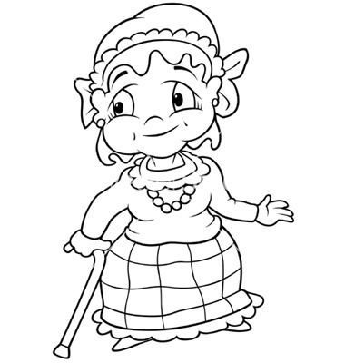 Grandmother Clipart Black And White.