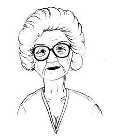 Grandmother face clipart black and white.