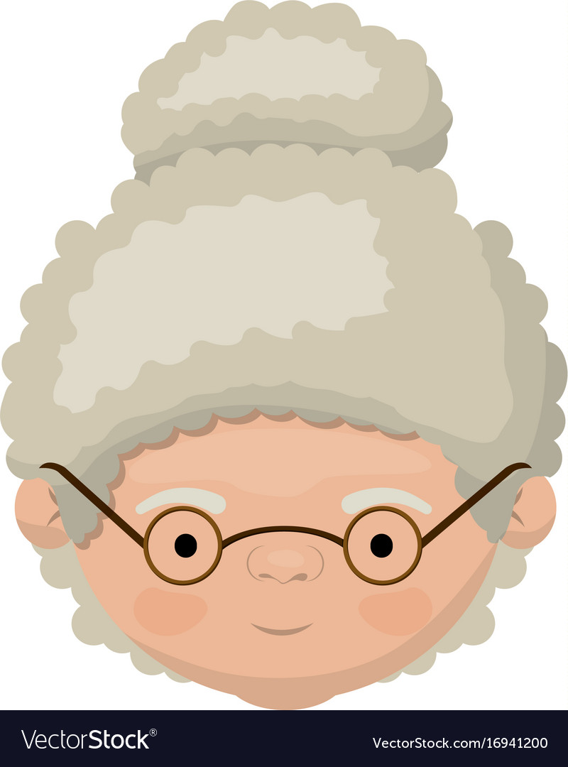 Colorful face of grandmother with a curly bun.