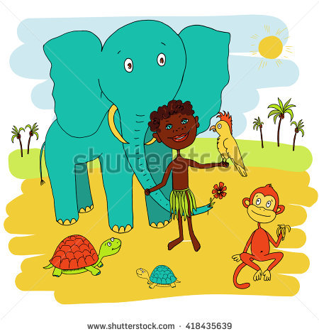 Vector Cartoon Grandmother Pushing Child On Stock Vector 94030324.