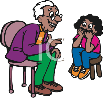Royalty Free Clipart Image of a Grandfather and Granddaughter.