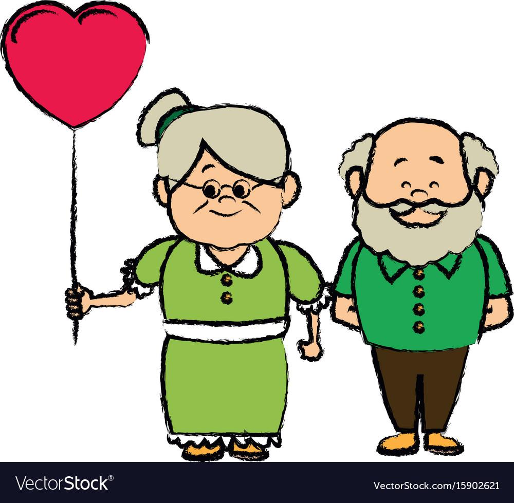 Grandparents holding hands grandpa and grandma.
