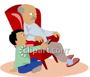 Grandpa Watching TV with His Grandson Clip Art.
