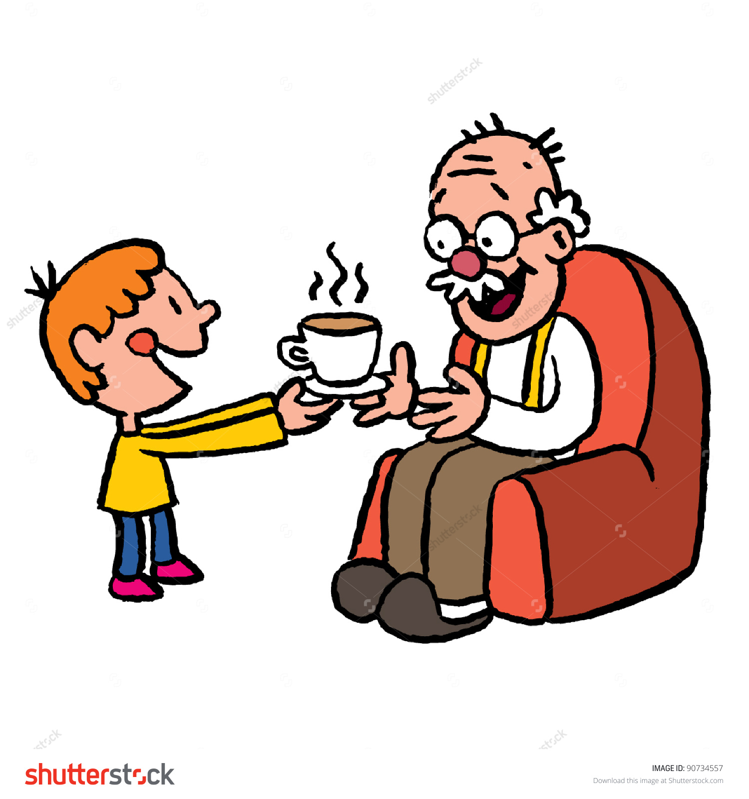 Grandpa and grandson clipart.