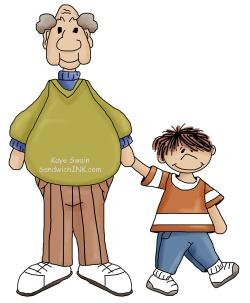 Grandpa and grandson clipart.