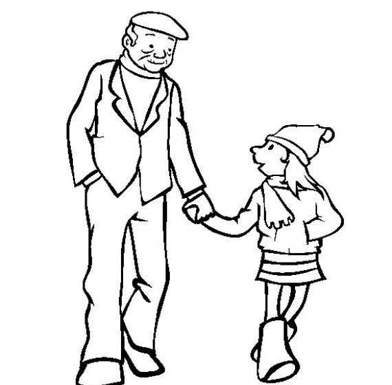 Grandfather Clipart Black And White.
