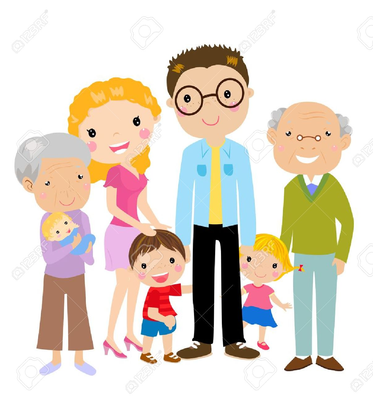 Big Cartoon Family With Parents, Children And Grandparents, Vector.