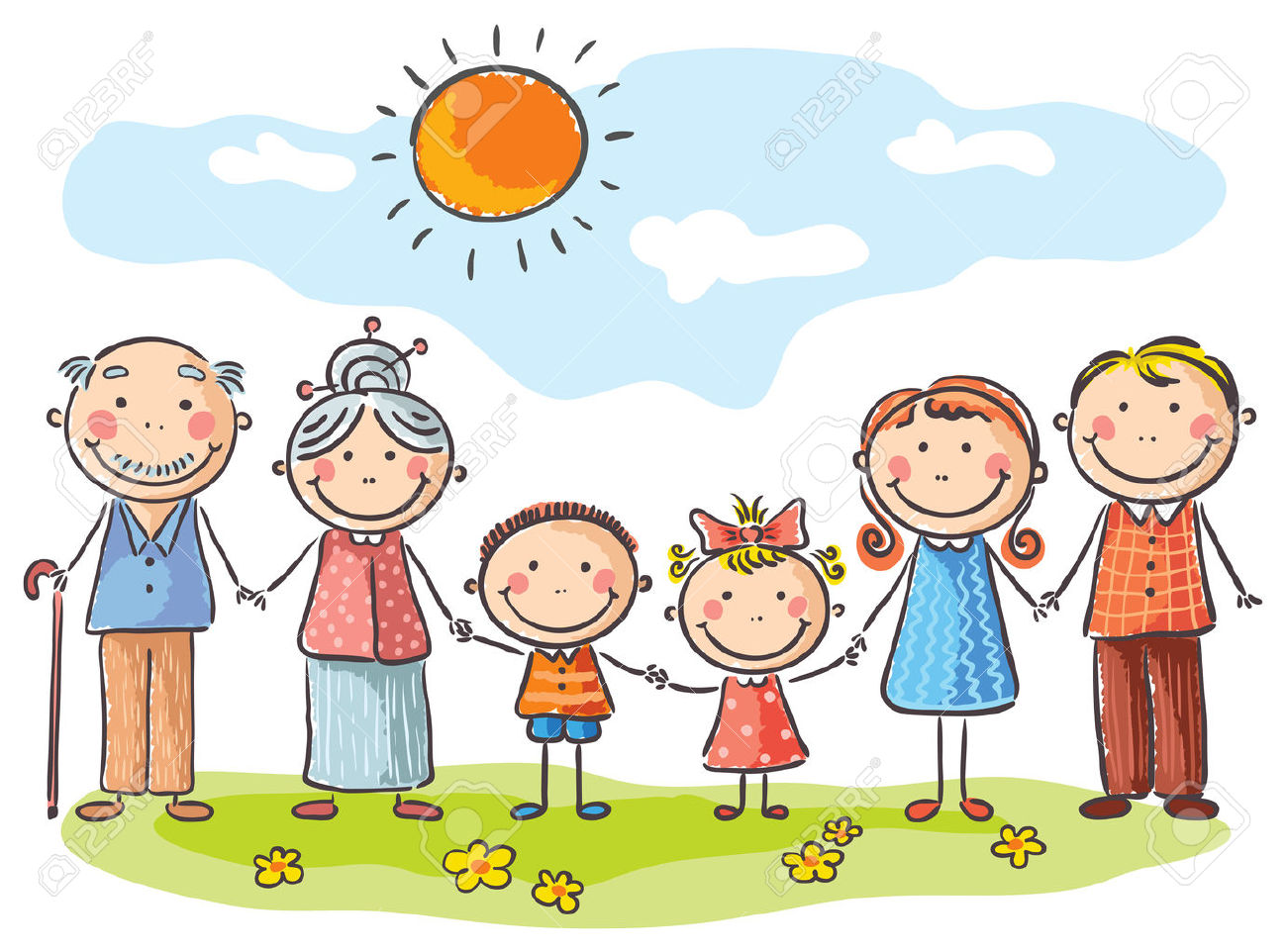 Happy Family With Two Children And Grandparents Royalty Free.
