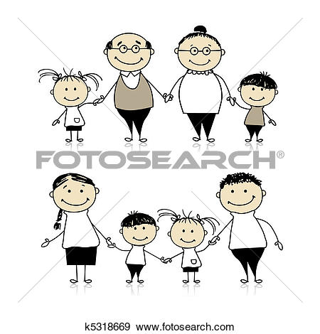 Drawing of Grandparents with child u23426243.