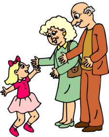 Child With Grandparents Clipart.