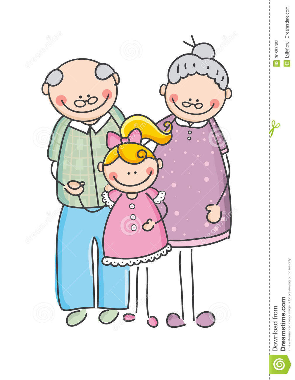 Grandparents And Children Clipart.