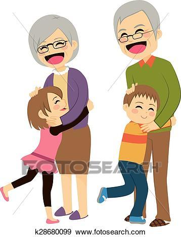 Grandchildren Hugging Grandparents Clip Art.