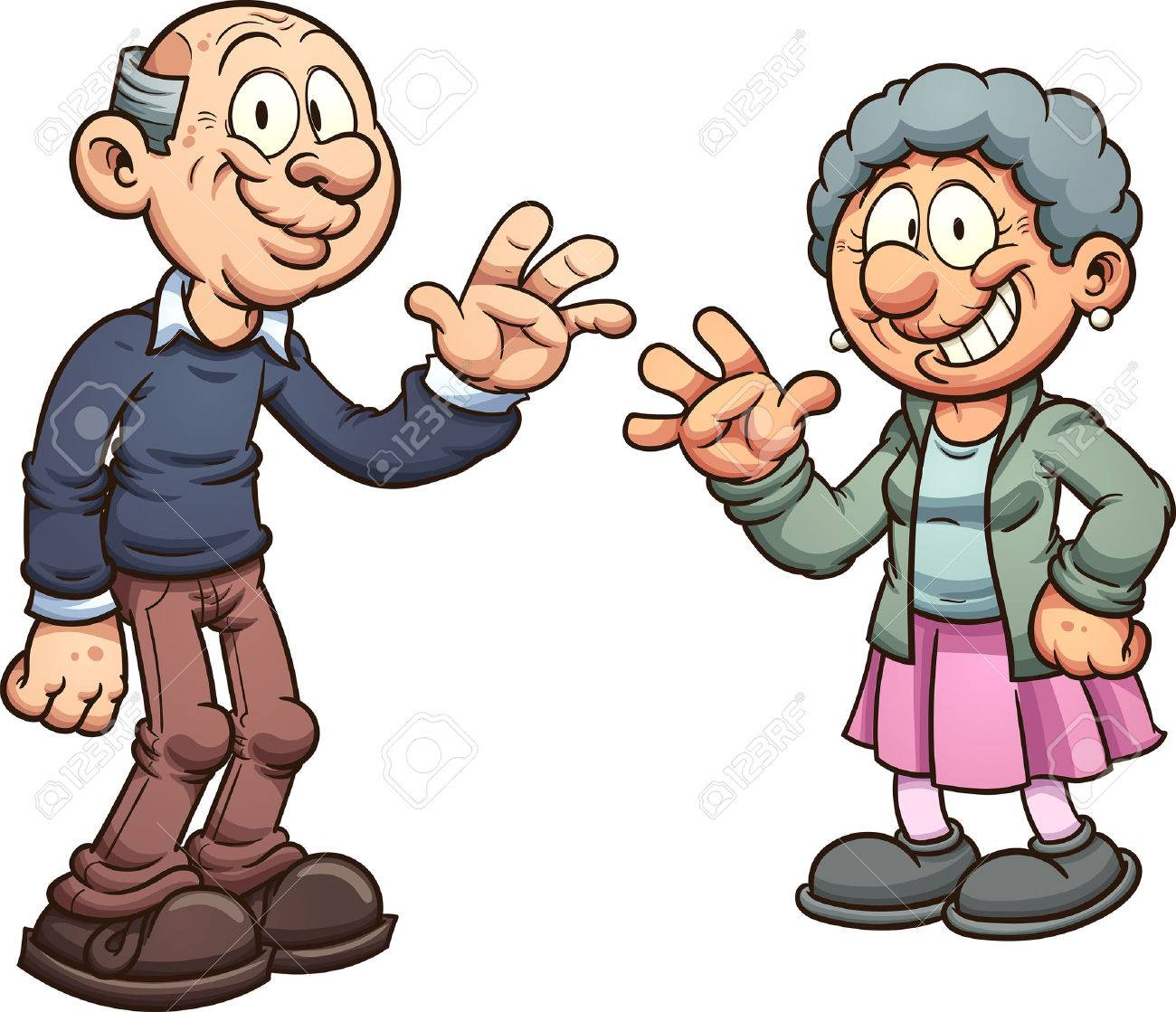 Cartoon grandparents. Vector clip art illustration with simple...