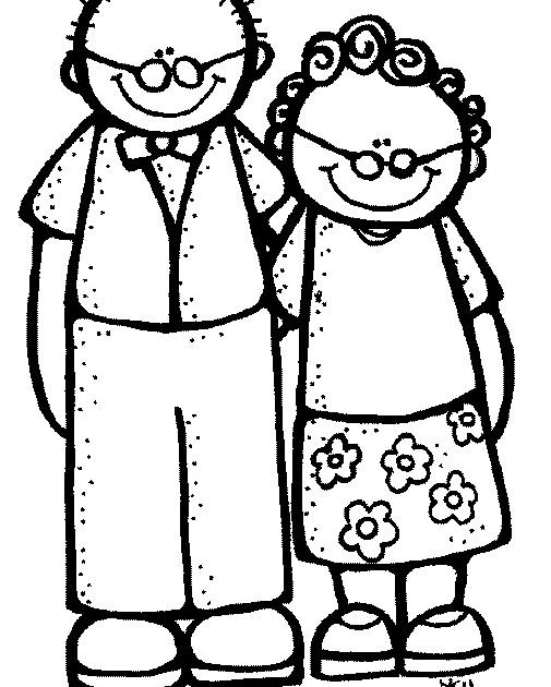 Grandparents Clipart Black And White.