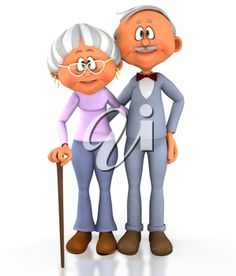 Royalty Free Clipart Image of a Girl Running to Her Grandparents.