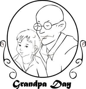 A Black and White Cartoon Commemorative For Granpa\'s Day.
