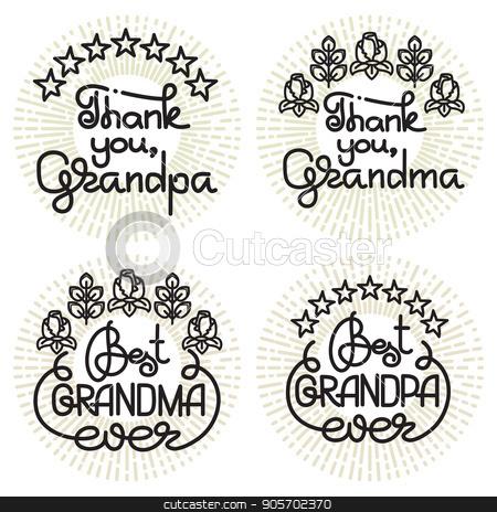 Grandma and grandpa handwritten lettering. Grandparents day.