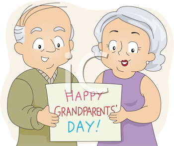 Royalty Free Clipart Image of a Couple Holding a Happy.