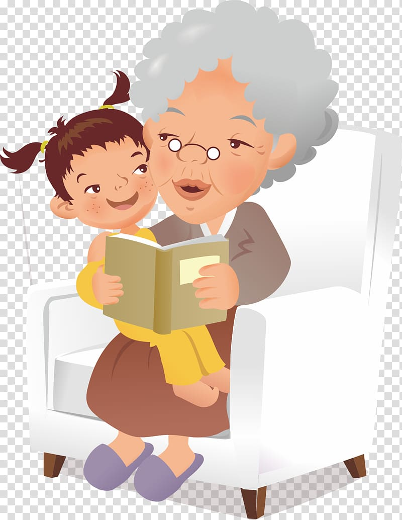 Child on grandmother\'s lap while reading a book, Grandparent.
