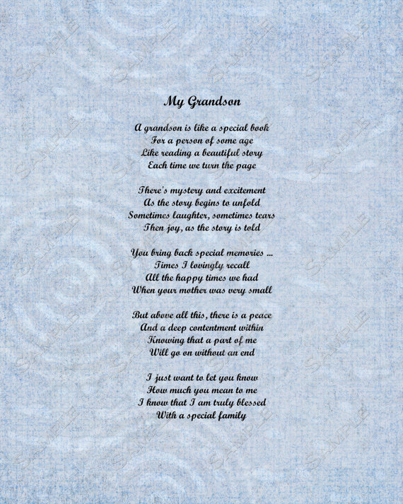 Grandson Poem Love Poem 8 X 10 Print INSTANT by queenofheartgifts.