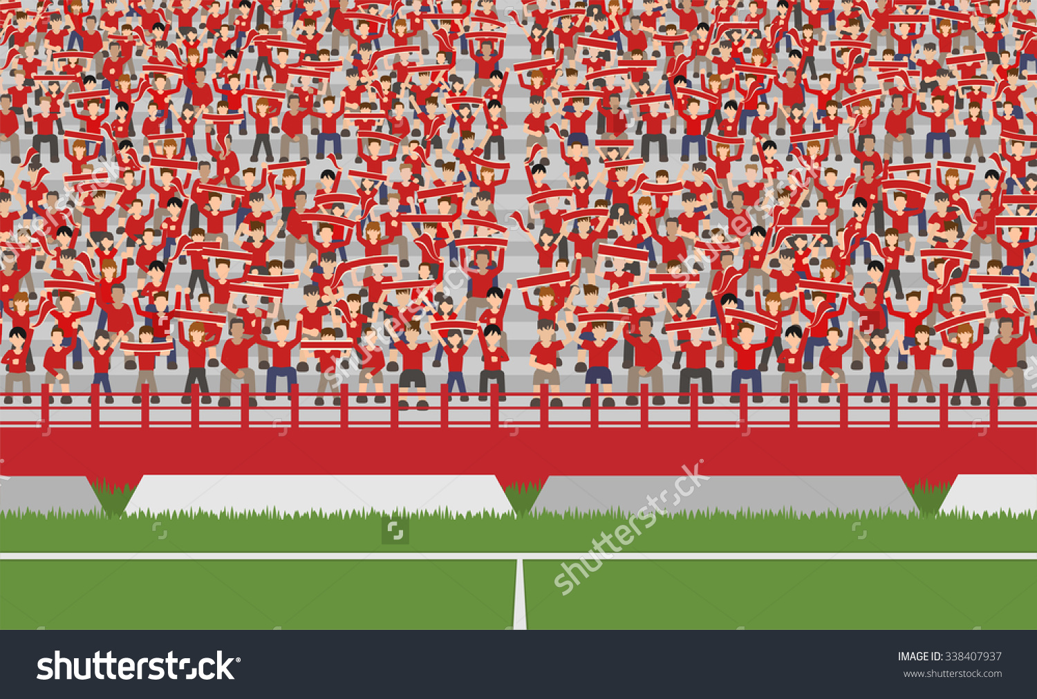 Soccer Field Crowd Red Team Cheering Stock Vector 338407937.