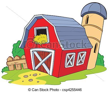 Clip Art Vecteur de dessin animé, rouges, grange,.