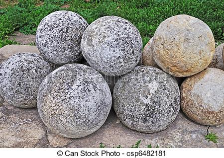 Stock Photography of Pile of stone cannon balls.