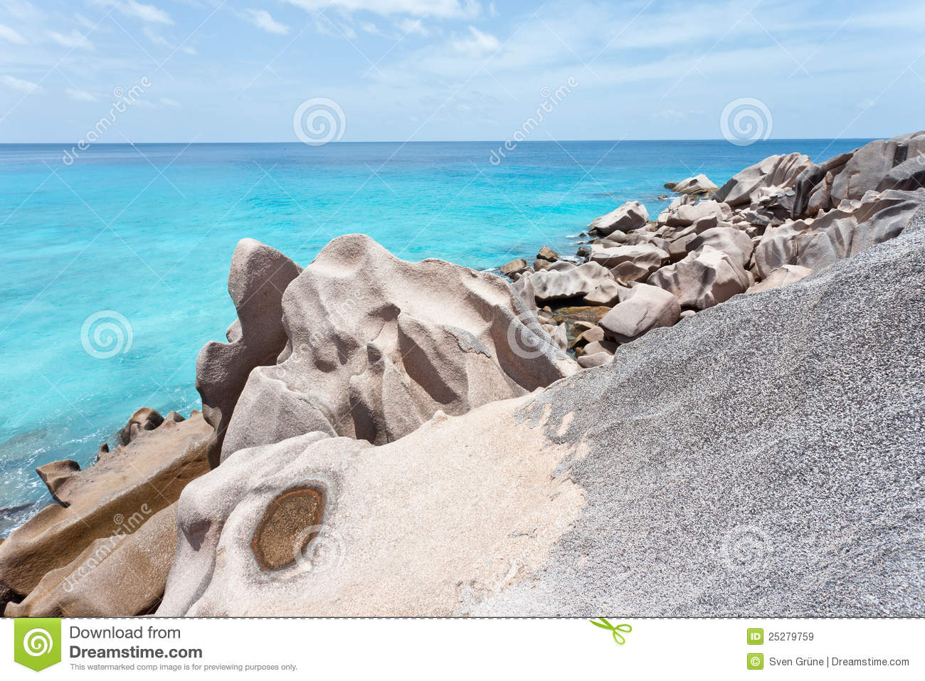 Granite Rock Formation, La Digue, Seychelles Royalty Free Stock.