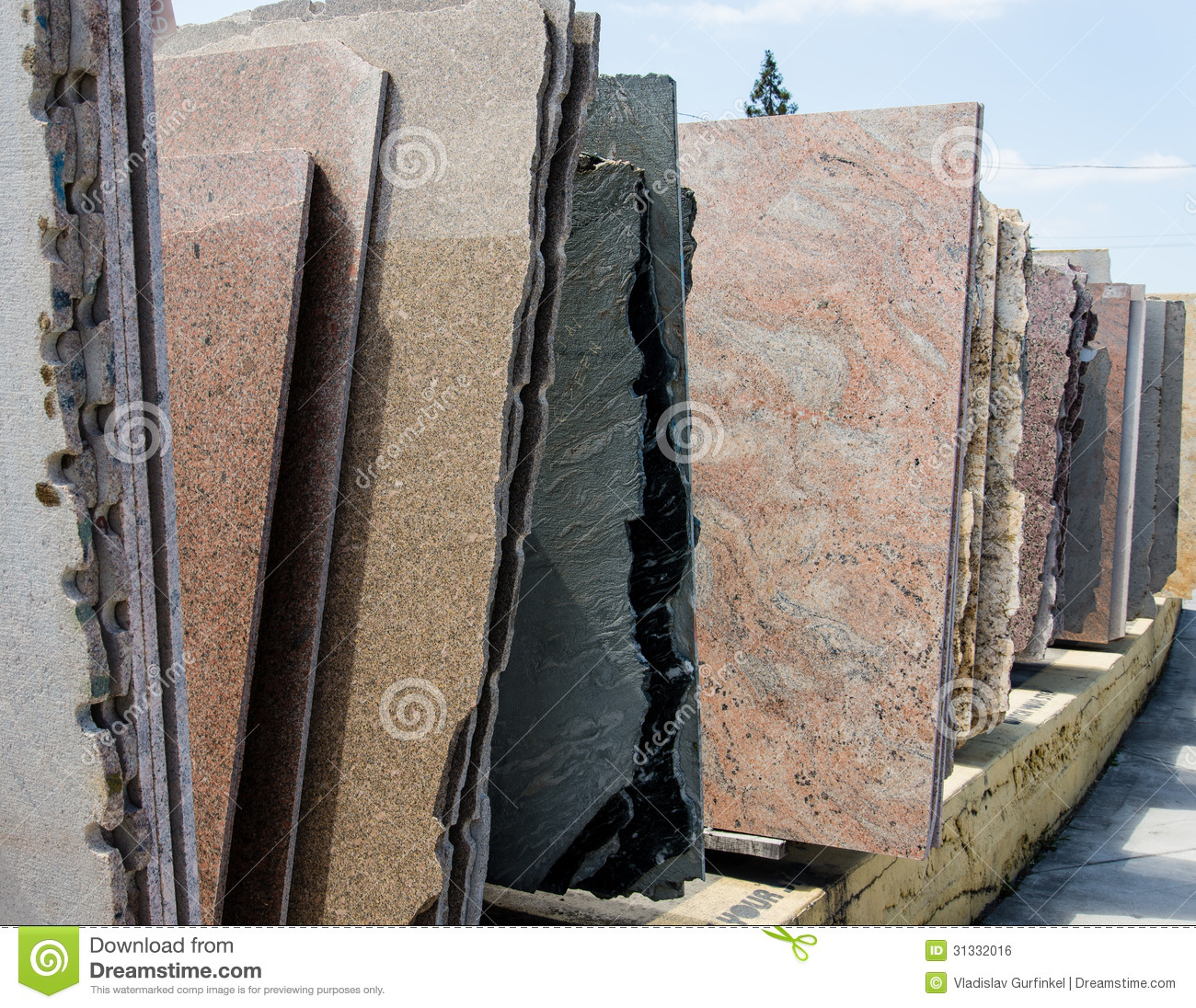 Colorful Granite Slabs For Sale Royalty Free Stock Image.