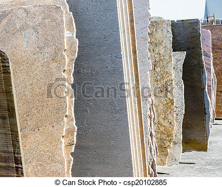 Pictures of granite slabs.