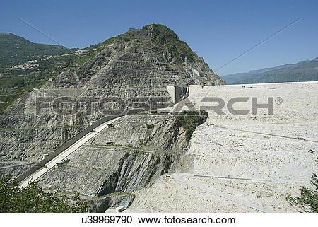 Stock Photography of Tehri Dam reservoir u39969790.