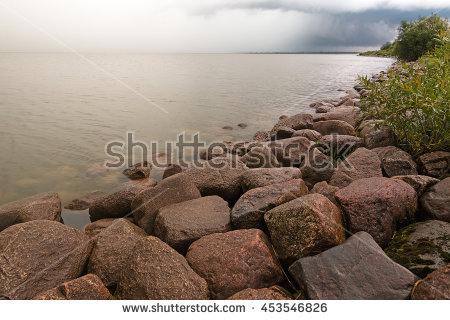 Granite Breakwater Stock Photos, Royalty.