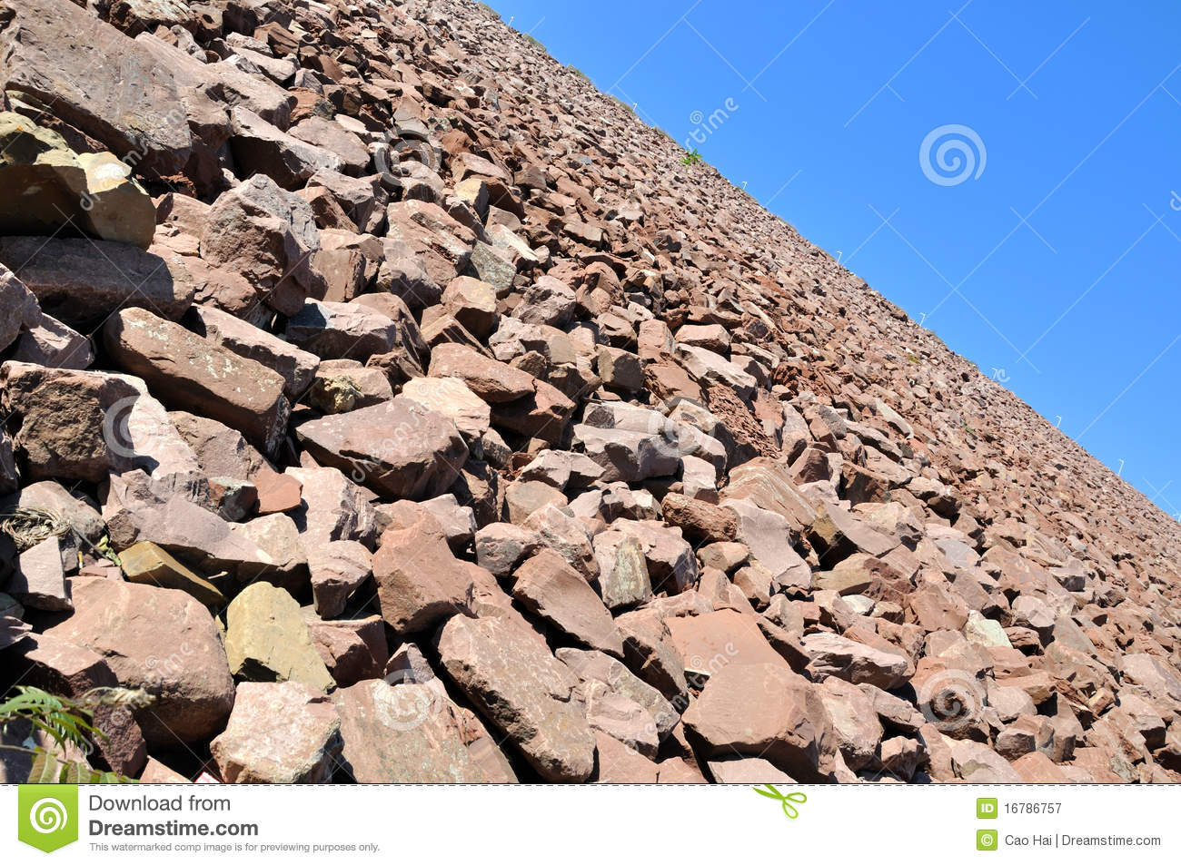 Stack Stone Dam. Stock Photo.