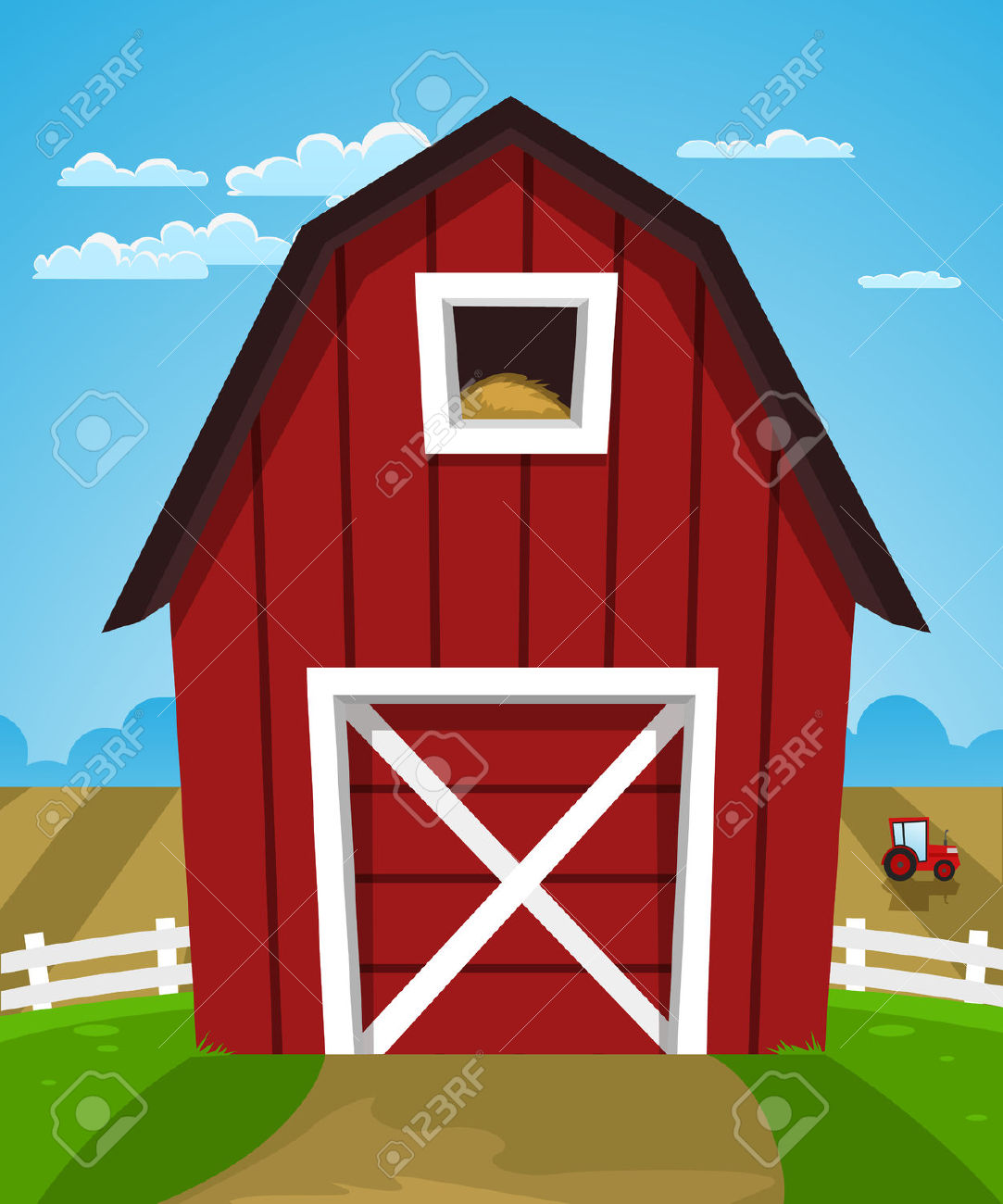 Cartoon Illustration Of Red Farm Barn With Tractor Royalty Free.