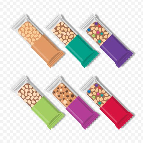 Granola Bars In Different Packaging Set.