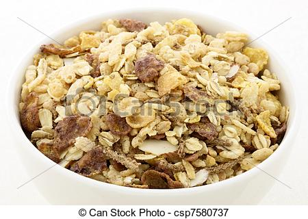 Picture of chocolate cornflakes and almonds muesli or granola.